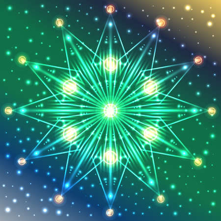 Abstract illuminated snowflake on blue, green and yellow gradient background with sparkles Illustration