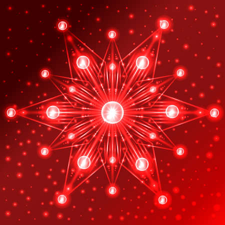 Abstract illuminated red star with lights on its rays on red gradient background with sparkles Imagens - 49457940