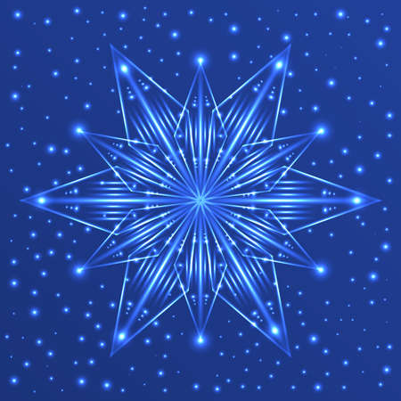 Abstract fluorescent star on blue background with sparkles