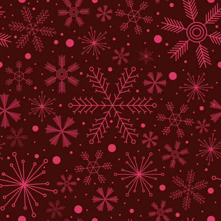 vinous: Abstract Christmas seamless pattern with various snowflakes on vinous background
