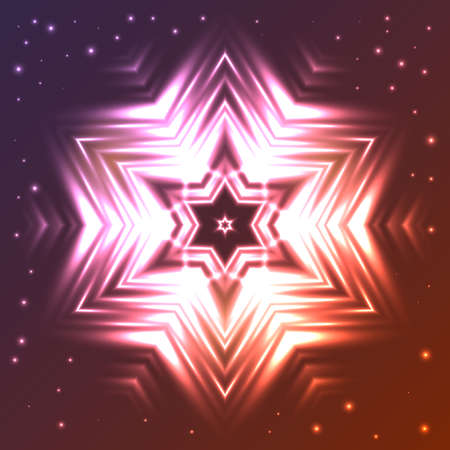 Abstract glowing star on dark gradient background with sparkles