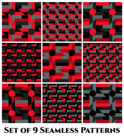 grey: Set of 9 abstract trendy geometric seamless patterns with windmill, circle, rectangle, square and triangle shapes of red, grey and black shades Illustration