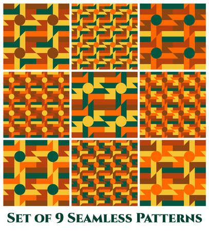 Set of 9 abstract contemporary geometric seamless patterns with windmill, circle, rectangle, square and triangle shapes of teal, orange, brown and yellow shades