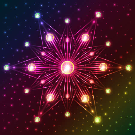 Abstract illuminated snowflake with green and yellow lights on dark colorful background with plenty of sparkles Illustration