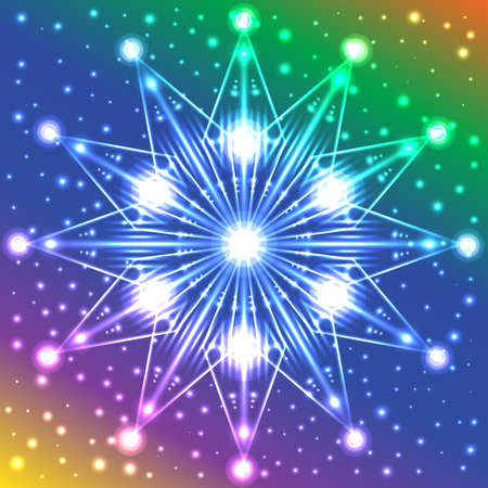 Abstract luminous star with lights on its rays on multicolored background with plenty of sparkles Illustration