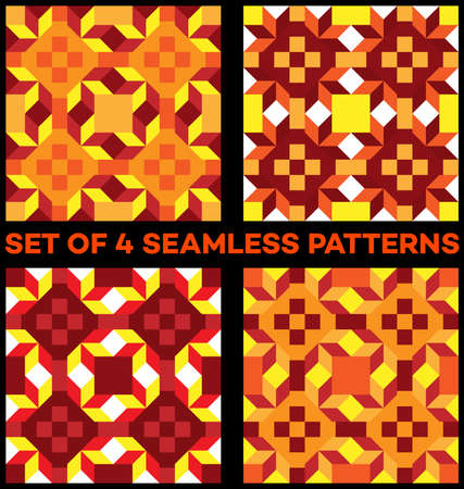 Set of 4 abstract stylish geometric seamless patterns with rhombus, triangles and squares of yellow, red, vinous, orange, white and cherry shades