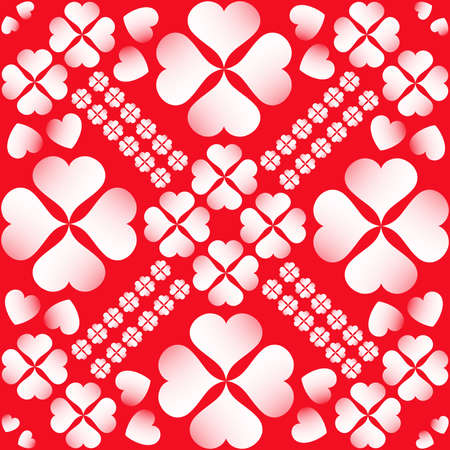 tissue paper art: Abstract Valentines seamless pattern with white heart shapes on red background
