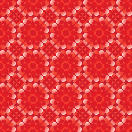 trendy tissue: Abstract romantic Valentines seamless pattern with flowers of red and white gradient heart shapes on dark red background