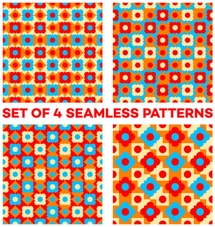 Set of 4 abstract bright seamless patterns with different geometric shapes of beige, orange, blue and red shades Illustration