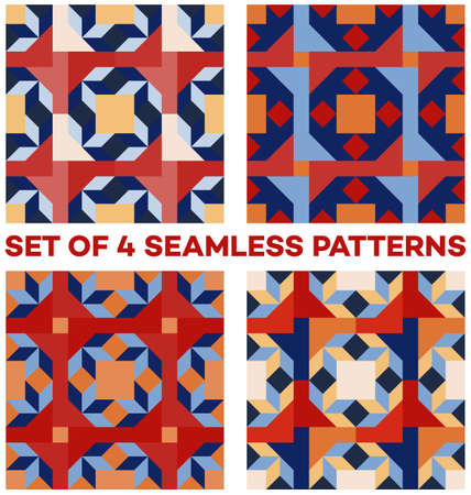 Set of 4 abstract contemporary geometric seamless patterns with rhombus, triangle and square shapes of blue, red, white and orange shades 일러스트