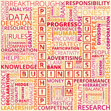 Colorful business and finance words on light background. Abstract business words concept