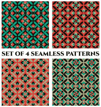 Collection of 4 abstract stylish decorative seamless patterns with geometric ornament of red, green and black shades 矢量图像