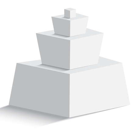 Isolated blank pyramid of  four geomertic objects on white background for any type of design workflow. Text holder, presentation, template and layout.