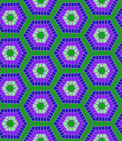 Abstract modern geometric seamless pattern in blue and green colors Illusztráció