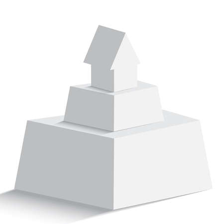 Isolated pyramid with house or arrow icon on the top on white background for any type of design workflow. Text holder, presentation, template and layout. Illustration