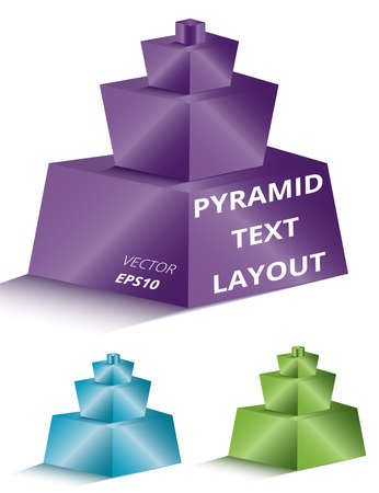 Set of golden and platinum pyramids on light background for any type of design workflow. Text holder, presentation, template and layout.
