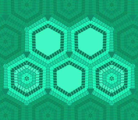 Abstract hexagon text template of green color for design process
