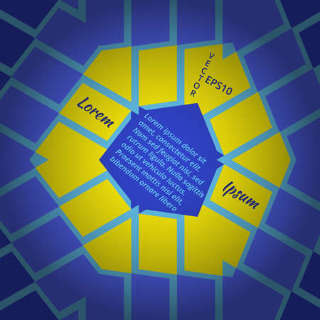 schemes: Abstract hexagon text presentation of blue and yellow colors for any type of design process Illustration