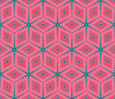 Abstract modern rhombus seamless pattern in pink and green colors
