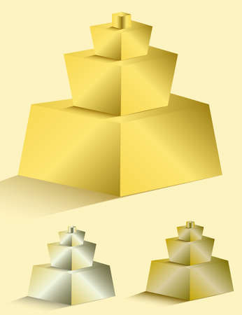 Set of colorful pyramids on white background for any type of design workflow. Text holder, presentation, template and layout.