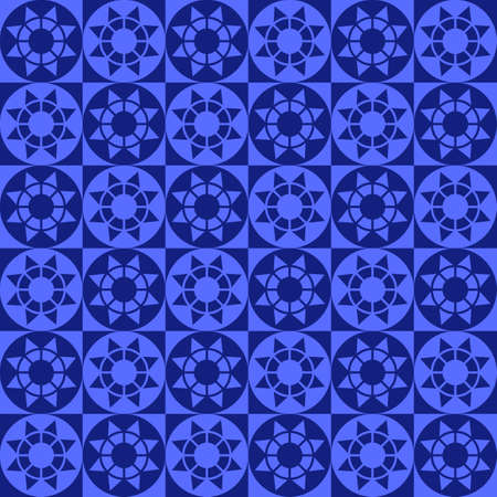 blue circles: Abstract modern geometric seamless pattern with squares, circles and stars of blue shades