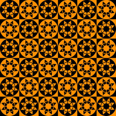 Abstract modern geometric seamless pattern with squares, circles and stars of black and orange colors