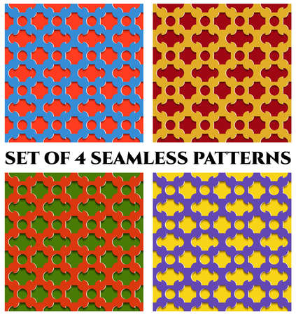 Collection of 4 abstract modern colorful 3d seamless patterns with geometric ornament