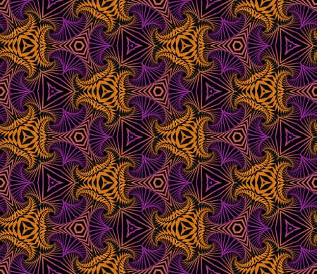 modish: Abstract modish seamless ornamental pattern of fractal shapes in violet, orange and black shades Illustration
