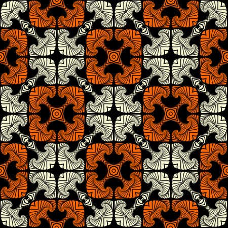 Abstract deluxe seamless pattern with decorative ornament of white and orange shades on black background