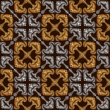 Abstract royal seamless pattern with decorative ornament of golden and silver shades on dark brown background