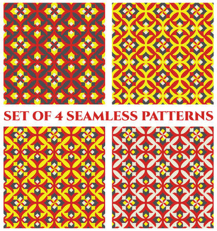 glorious: Collection of 4 abstract glorious decorative seamless patterns with colorful geometric ornament