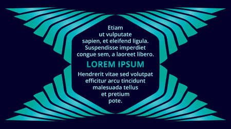 publisher: Abstract decorative turquoise gradient hexagon text frame on dark blue background Illustration