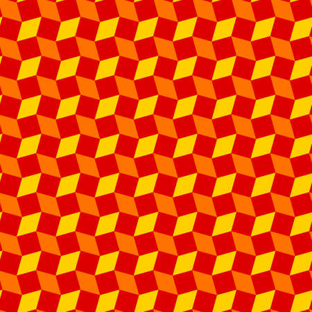 Abstract modern rhombus and square shapes seamless pattern of red, orange and yellow colors
