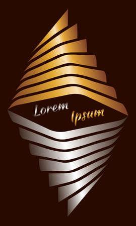 dark brown background: Abstract rhombus decorative golden-silver gradient text frame on dark brown background