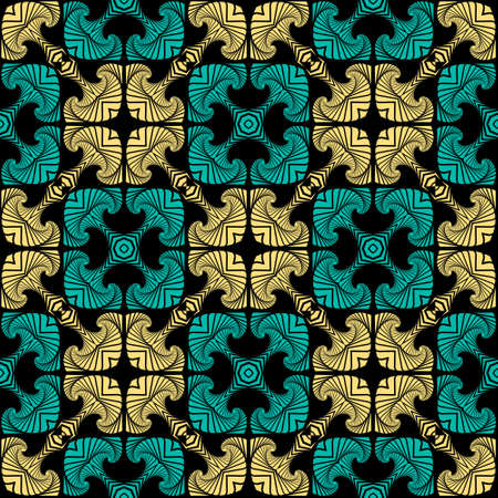 Abstract modern seamless pattern with decorative ornament of teal and yellow shades on black background