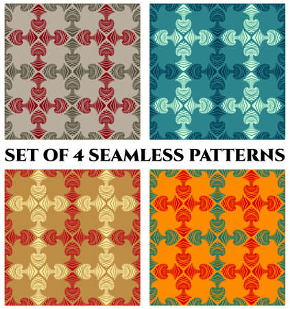 Set of 4 abstract modern seamless patterns with decorative ornament of blue, red, beige and grey shades on colorful backgrounds 矢量图像