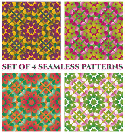 violet red: Set of 4 abstract fashionable decorative seamless patterns of green, violet, purple, orange, red, yellow, pink and white shades Illustration