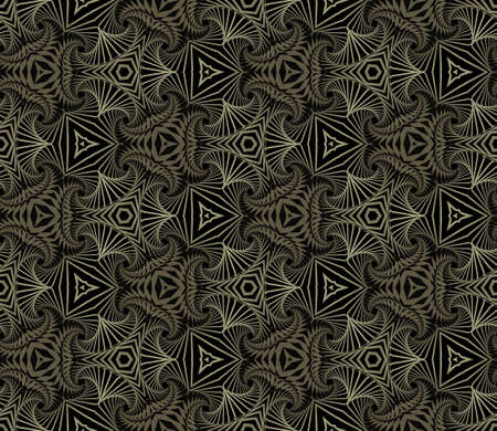 Abstract elegant seamless ornamental pattern of fractal shapes in black and grey shades