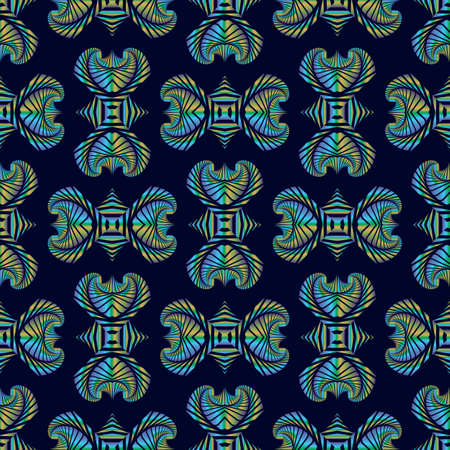 blue metallic background: Abstract deluxe seamless pattern with colorful metallic decorative ornament on dark blue background