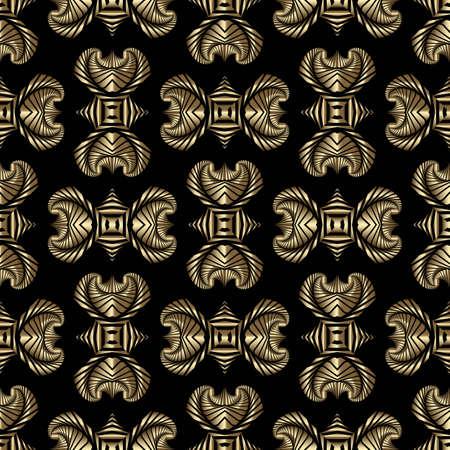 Abstract stylish nahtlose Muster mit goldenen dekorativen Ornament auf schwarzem Hintergrund Standard-Bild - 56714030