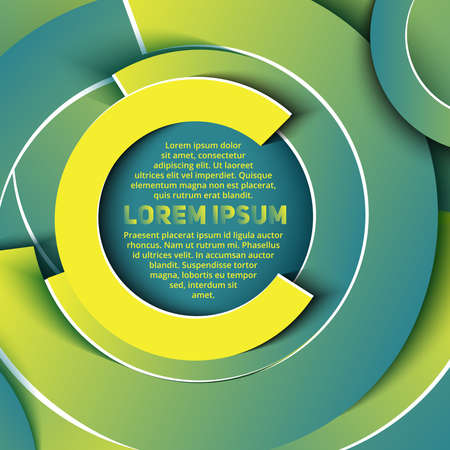Abstract business layout in circle shapes of blue, green and yellow shades