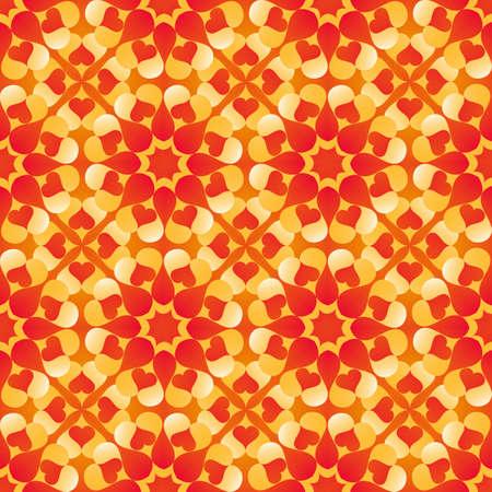 빨간색, 노란색, 오렌지색과 흰색 음영의 심장 모양으로 추상 장식 발렌타인 원활한 패턴