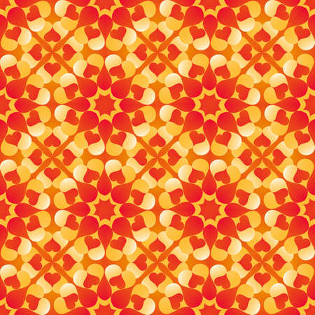 Abstract decorative Valentines seamless pattern with heart shapes of red, yellow, orange and white shades Ilustração