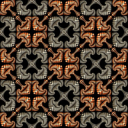 Abstract luxurious seamless pattern with decorative ornament of bronze and silver shades on black background