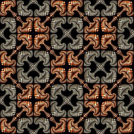 Abstrakt luxuus nahtlose Muster mit dekorativen Ornament aus Bronze und Silbertöne auf schwarzem Hintergrund Standard-Bild - 56714038