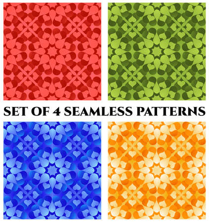 red rug: Set of 4 abstract modern decorative seamless patterns of red, green, orange and blue shades Illustration
