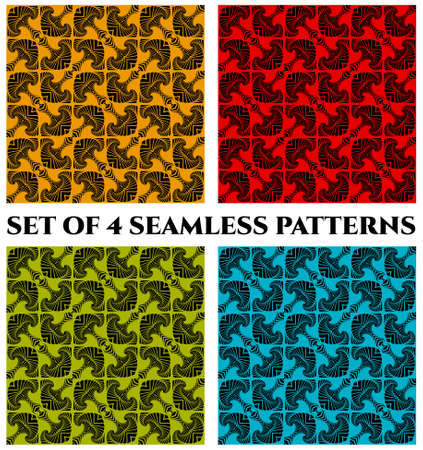 Set of 4 abstract contemporary seamless patterns with black decorative ornament on blue, green, orange and red backgrounds