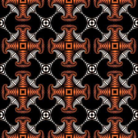 Abstrakt überlegen nahtlose Muster mit Silber und Kupfer dekorativen Ornament auf schwarzem Hintergrund Standard-Bild - 58455419