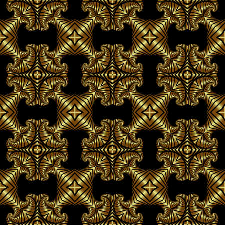 Abstract rich seamless pattern with polished golden ornamental elements on black background