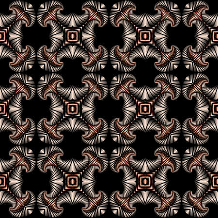 iron curtains: Abstract deluxe seamless pattern with silver and bronze gradient decorative ornament on black background
